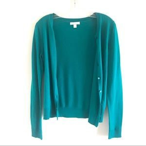 NEW YORK AND COMPANY Teal Blue Button Up Cardigan